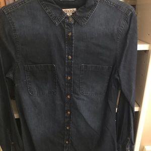 Dark wash jean button down